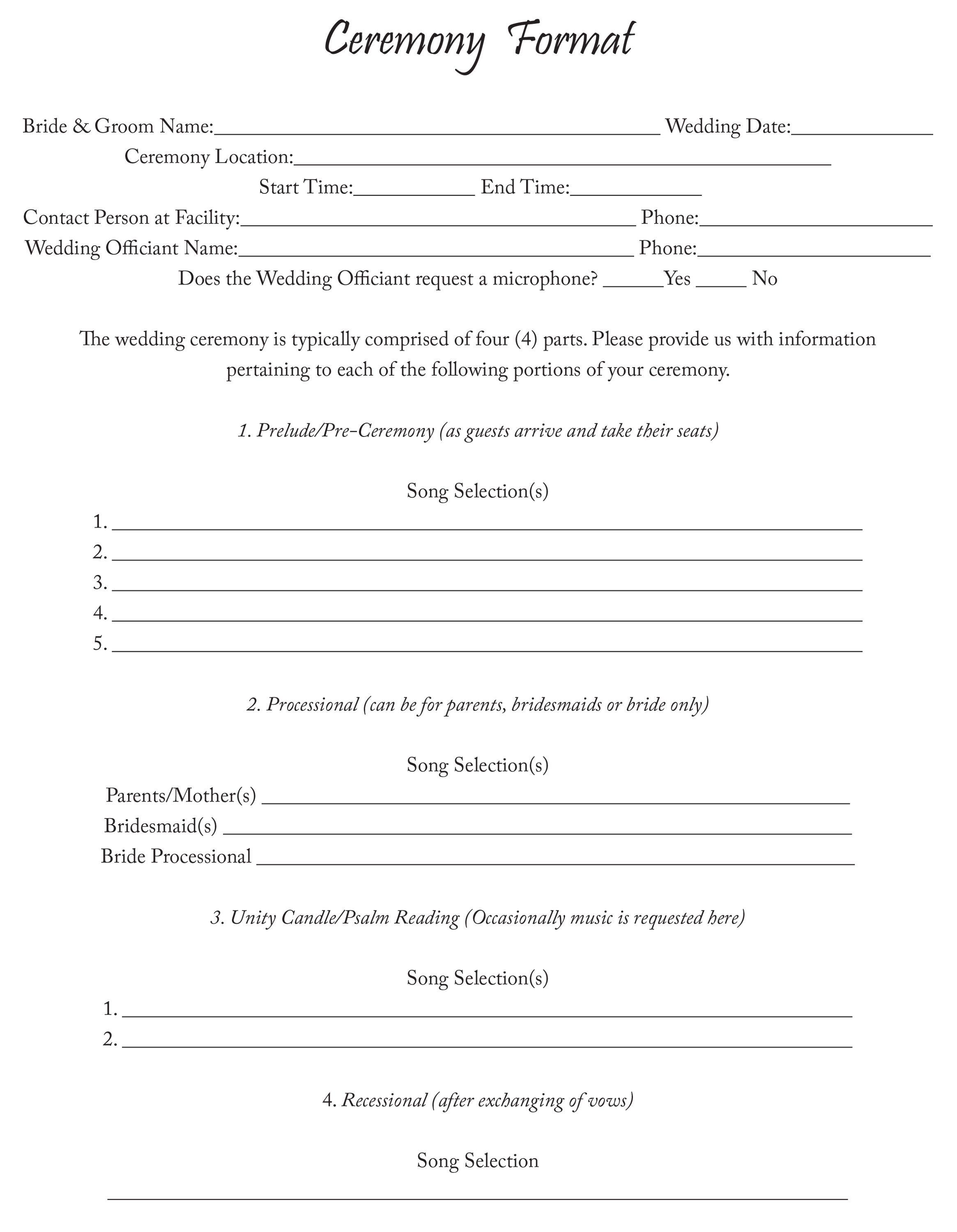 Ceremony Format Sheet Sarasota And Tampa Bay Events Dj