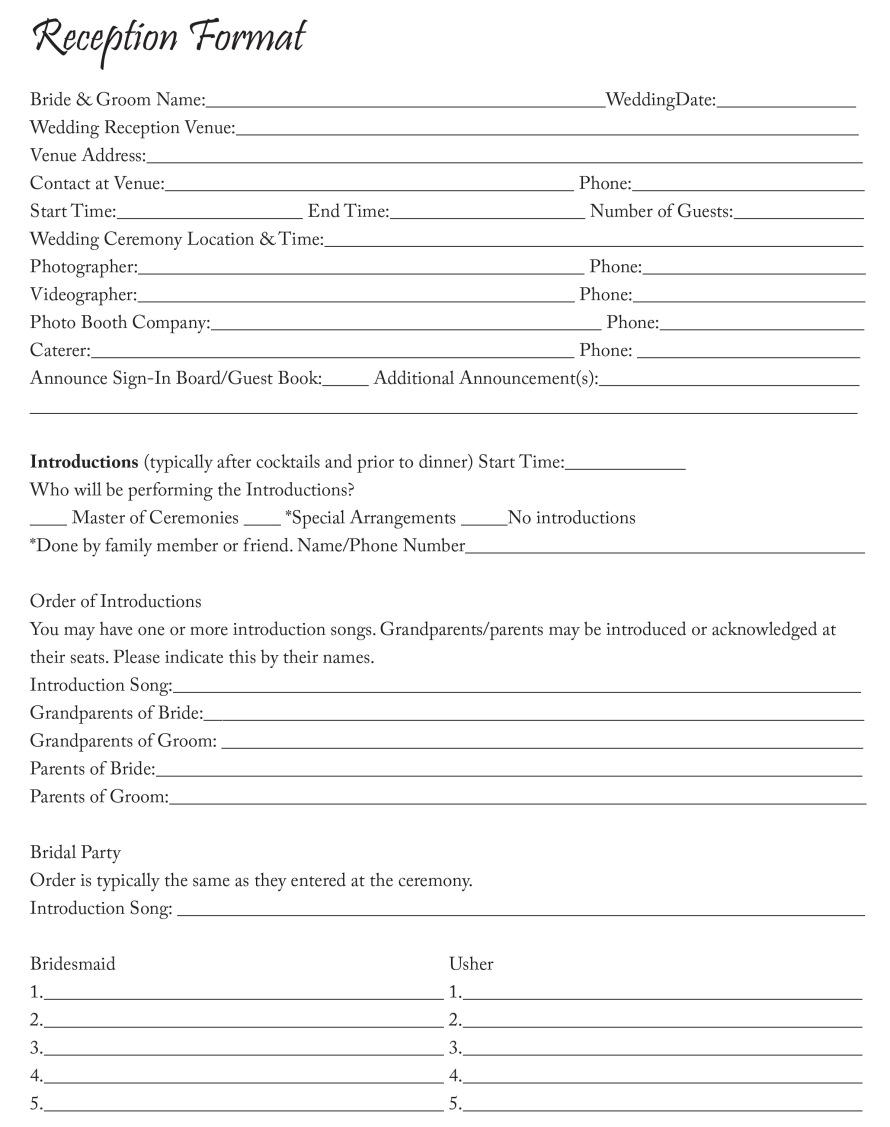MyDJ Entertainment Reception Format Sheet.indd