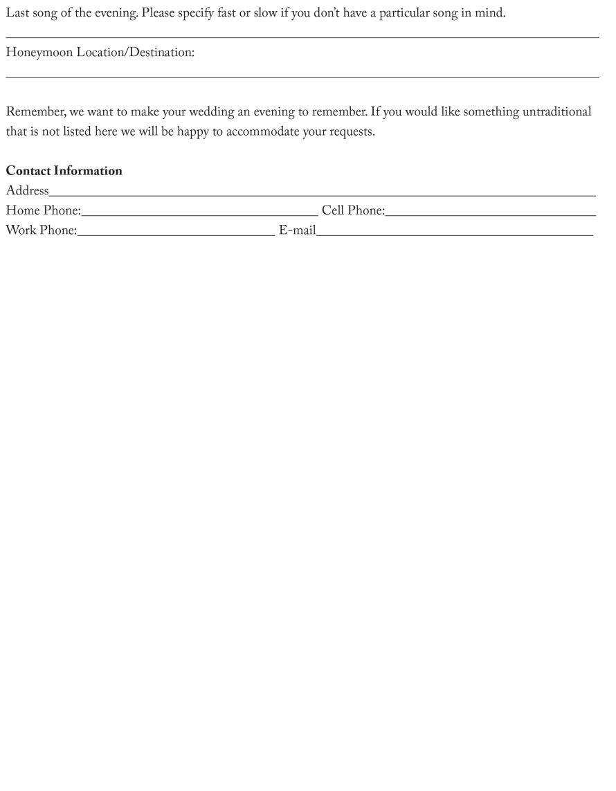 MyDJ Entertainment Reception Format Sheet.indd